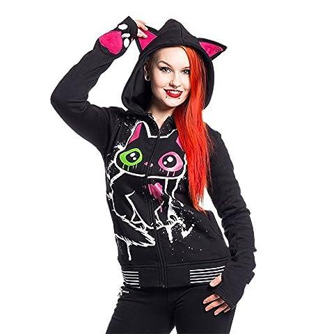 Cupcake Cult Kitty Mase Women's Hood Black Goth Emo Punk Ladies Hoodie (Small)