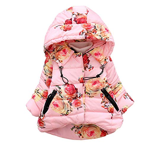 Odjoy-fan-bambino manica lunga floreale stampa floreale cappuccio cerniera tenere caldo vestiti di cotone a prova vento cappotto- unisex bambine e bambino giacca cappuccio abbigliamento cotone