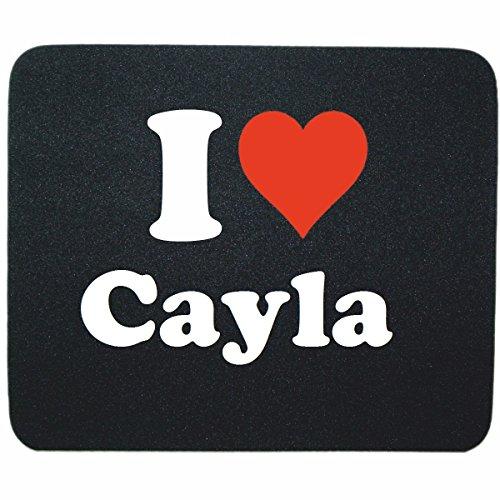 """EXCLUSIVO: Tapete de ratón """"I Love Cayla"""" en Negro, una gran idea para un regalo para sus socios, colegas y muchos más!- regalo de Pascua, Pascua, ratón, Palmrest, antideslizante, juegos de jugador, cojín, Windows, Mac OS, Linux, ordenador, portátil, PC, oficina, tableta, Amo Made in GERMANY."""