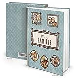 XXL blau braun Familienbuch Geschichten aus UNSERE FAMILIE - Selberschreiben Blankobuch Notizbuch leere weiße Seiten Buch ohne alles retro - Geschenk für Mama Papa Eltern Großeltern Kinder