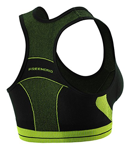 FITTECH ACTIVE Damen Sports Büstenhalter Fitness Funktions-BH Sport-BH Funktionsunterwäsche Pilates Radsport Running schwarz/grün