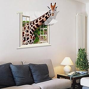 [Free Shipping] 3D Lovely Giraffe Wall Sticker Decal Animal Wallpaper Living Room Home Decor Art Mural BML® Brand // 3d parachoques preciosa pared jirafa calcomanía animales fondos de escritorio de la sala de estar mural de arte decoración para el hoga