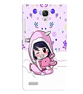 PrintVisa Cute Cartoon Girl 3D Hard Polycarbonate Designer Back Case Cover for Xiaomi Redmi Note
