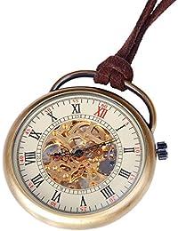 Reloj Esqueleto de Bolsillo de Hombre con Mecanismo Mecánico Manual de Calidad, Números Romanos y Estilo Vintage - PW17