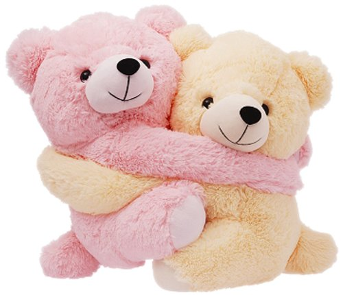 Dimpy Stuff Cuddly Pink and Cream Bear Couple Soft Toy, Pink  available at amazon for Rs.334
