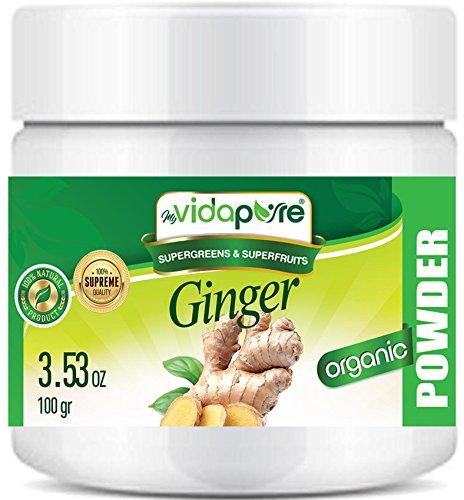 myBioPure ORGANISCHES GINGERPULVER. 100% Pure Natural RAW Glutenfrei, Roh, Non-GMO. SUPER Essen. Für Gesundheit, Backen, Schönheit, Kochen und Nahrungsergänzung. 3,53 Unzen – 100 gr.