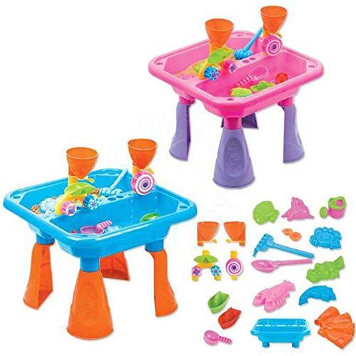 Sommerspaßiger Sand- und Wasser-Tisch, Kunststoff, Outdoor-Tisch für Kleinkinder, Kinder, inklusive Strandspielzeug, zufällige Farbe (Outdoor-wasser-spiel-tisch)