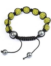 Burgmeister Jewelry Damen-Armband Shamballa olivgrün Länge variierbar, verschiedene Steine auf schwarzem Textilband JBM1153-598
