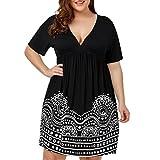 Ansenesna Kleid Damen Sommer Knielang Elegant Schwarz Große Größen, V Ausschnitt Viscose Ärmeln Sommerkleider Für Mollige (XL, Schwarz)