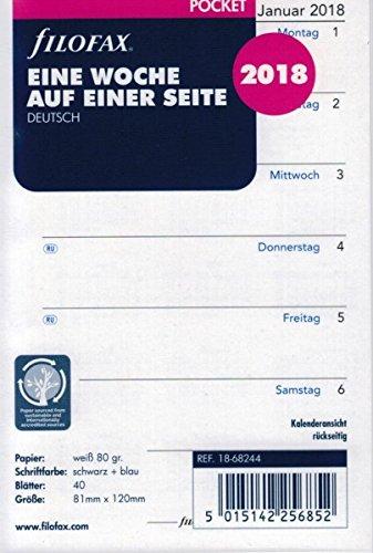 Filofax 000018-68244 Kalender Einlage Pocket: Eine Woche auf einer Seite 2018
