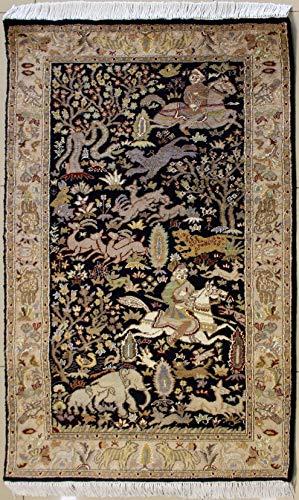 Rugstc 94 x 152 tappeto persiano pak alta qualità con pila in seta e lana - fantasia pictorial hunting shikargah   100% originale annodato a mano in nero, beige & bianco   tappeto rettangolare 91 x 152 di alta qualità a doppio nodo
