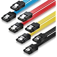 deleyCON MK1582 S-ATA 3 Kabel SATA 3 HDD SSD Datenkabel 6 GBit/s - 2X gerade - 4 Stück a 50cm Farbe: Gelb/Rot/Blau/Schwarz