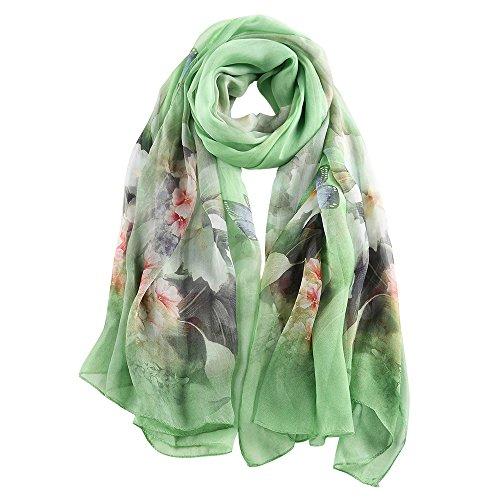 STORY OF SHANGHAI Frauen-Maulbeer-Blumen-Druck Großer Silk Schal (Floß Blume)