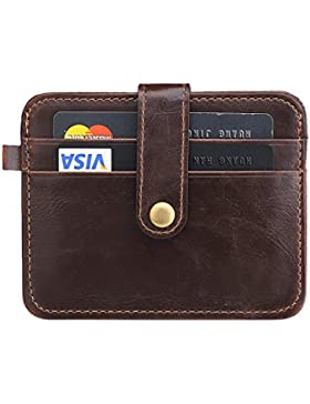 URAQT Tarjeta de Crédito Slim, Monedero de Cuero, Mini Billetera para Tarjetas de Crédito