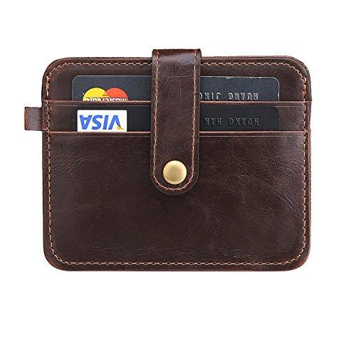 URAQT Billetera para Tarjetas de Crédito, RFID Bloqueo Monedero de Cuero ID Portatarjetas, Chcolat