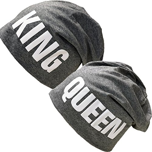 #King & Queen Beanie Long Slouch Mütze Partner Look Wintermütze Baumwolle (King & Queen Grau Set)#