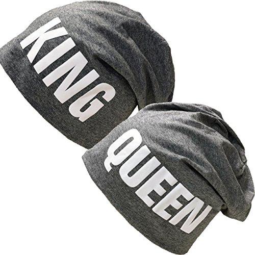 *King & Queen Beanie Long Slouch Mütze Partner Look Wintermütze Baumwolle (King & Queen Grau Set)*