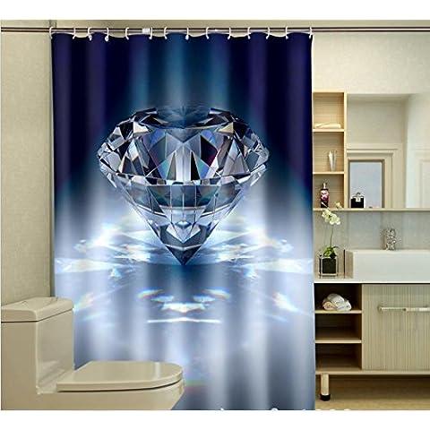 GYMNLJY Tenda doccia Tende da doccia bagno impermeabile stampa 3D Diamante , 2 , 200*180cm - Diamante Del Nastro Scorrevole