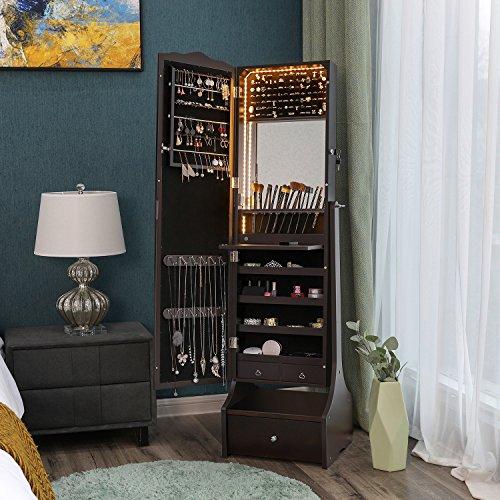 SONGMICS Schmuckschrank mit LED Beleuchtung, abschließbarer Spiegelschrank, mit Innenspiegel und klappbarer Innenablage für Make-up, braun JBC87BR - 3