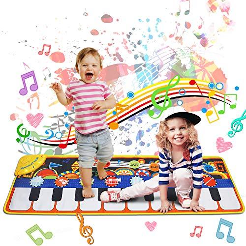 Regalo Bambini 1-8 anni -Tappeto Musicale, Piano Mat Tastiera Danza Stuoia Strumento Musicale 8 suoni, Tappetino per Pianoforte Bambini Tocco Mat Educativo Giocattolo Compleanno Natale(110x36 cm)