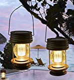 2 lanterne a energia solare da appendere per esterni, lampada da giardino a LED, vintage, con manico, per vialetti, cortile, patio, decorazione albero, spiaggia, padiglione moderno Luce calda.