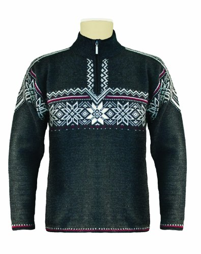 Dale of Norway Herren Pullover Holmenkollen, Dark Charcoal/Off White/Red Rose, L, 91541-E (Norway Of Dale Pullover)