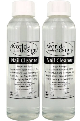 World of Nails-Design Nail Cleaner 99,9% isopropanol kosmetisch, Lot de 2 (2 x 200 ml)