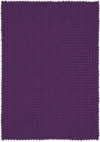 myfelt Wilma Filzkugelteppich, rechteckig, Schurwolle, violett, 50 x 70 cm