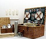 Luxuriöser Weiden Picknickkorb Regal für 4 Personen mit Zubehör - Die Ideale Geschenkidee zum Geburtstag, Hochzeit, R