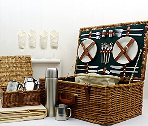 Regal 4 Person Luxury Picnic Basket Hamper - Gift ideas for Birthday, Anniversary & Congratulations presents