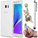 Vandot Étui pour Samsung Galaxy S7 Edge Souple TPU Coque Housse Case Perfect Fit Luxe Glitter Diamant Bumper Silicone transparent Retour Cover Exclusive élégant Bling étoile Brillante de Protection Shell Hull + Ange anti poussière Plug + Stylet - Blanc