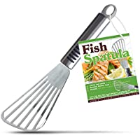 Elite Chef Fish Spatula Turner with Offset Slotted Metal Head Keeps Your Food Intact by Elite Chef