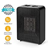 UOKOO Space Heater, Electric Heater with Thermostat, Ceramic Small Heater for Home and Office, 750W/1500W
