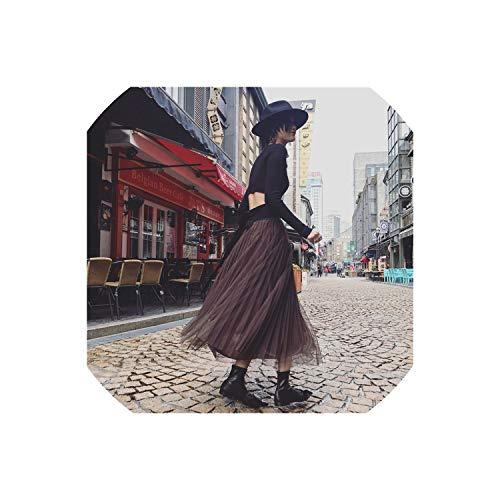 Lange Rock-Sommer-Frauen-Mesh-Aktien mit hohen Taille elastischen A Lang Linie Halfbody Rock weiblicher unten, Kaffee, One Size (Bett Queen-size-braun Röcke)