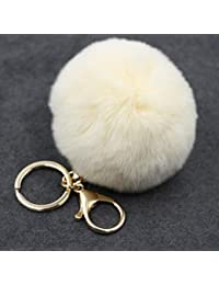 17 Colors Hot Sale Lovely Fluffy Rabbit Ball Key Chain Pompom Artificial Rabbit Keychain Women Car Bag Key Ring...