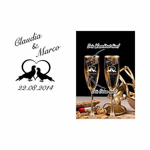 2 Sektgläser mit Gravur als Hochzeitsgeschenk – Personalisiert mit Namen und Datum – verschiedene Motive zur Auswahl, Sektglasmotiv:Motiv 301-05