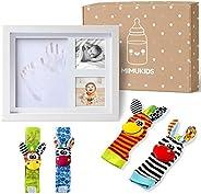 MIMUKIDS marco huellas bebe con sonajeros bebes pies y manos - regalo bebe originales marco para huella bebe c