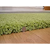 """Shaggy Thick Modern Luxurious Lime Green Rug High Pile Long Pile Soft Pile Anti Shedding Available in 9 Sizes (50cm x 80cm 1ft 8"""" x 2ft 7"""")"""