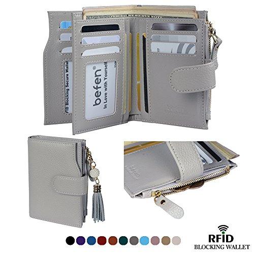 Befen Frauen RFID Blocking Wallet Full Grain Leder Damen Kleine Compact Bifold Leder Geldbörse Front Tasche Mini Wallet Kartenhalter mit 16 Card Slot - Grau (Full-grain-leder-tasche)