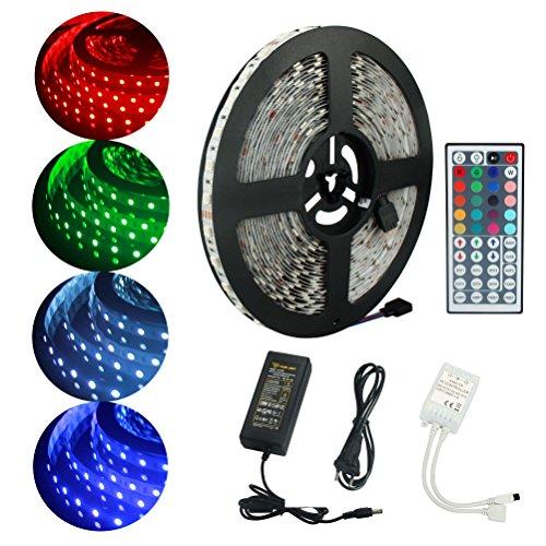 ALED LIGHT 10M 5050 RGB 600 LED que cambia de color tiras de LED con 44 IR remoto + 24V 6A AC EU Plug adaptador de fuente de alimentación para la lluminación hogar y la cocina