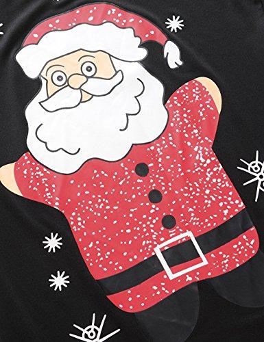 Ruiyige Donne Vestiti Natale Printed Dress Bodycon Rosso # Babbo Natale