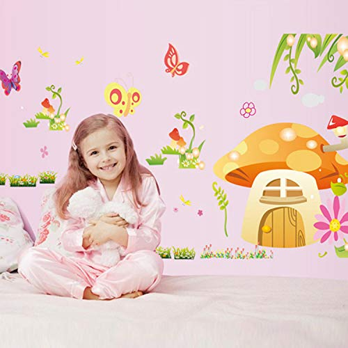 KHFVCSOMB Schmetterling Pilz Blume Märchen Cartoon Wandaufkleber Kinderzimmer Dekorative Aufkleber Kinderzimmer Dekor 140 * 80 cm -