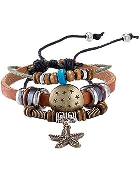 YIXUYU Armbänder für Mädchen Leder Geflochten Handgemacht Seestern