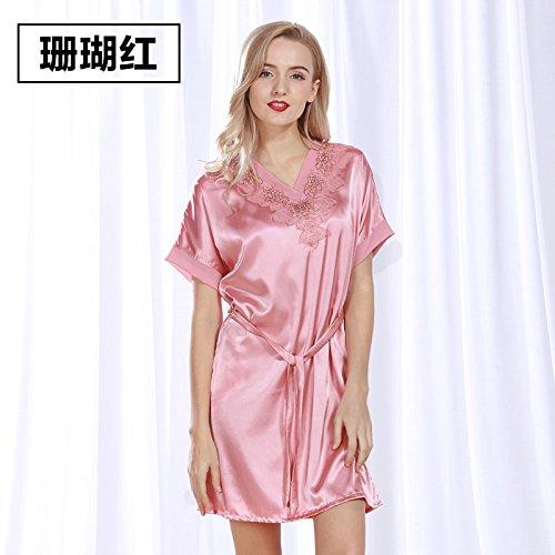 lpkone-Femelle siamois chemise sexy-soie tissée soie pyjama Robe manches courtes dans les glaces des vêtements bleu clair,Taille libre Coral red