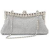 Homgaty Ladies Girls Silver Sparkly Diamante Crystal Satin Clutch Bag Evening Wedding Handbag Purse Bag