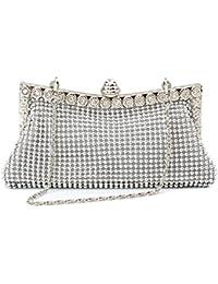 Homgaty-Cartera satinada de plata y diamantes brillantes para bodas y fiestas para mujeres.