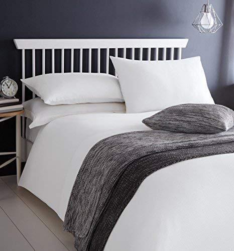 blanc brodé GAUFRE effet 100% coton King Size Couverture Housse confortable