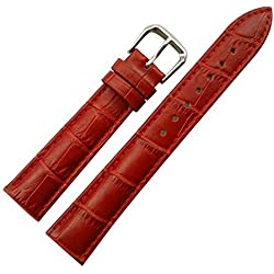 14 mm Damen rot Original Ersatz Leder Armbanduhr Band Alligator Grain matt Finish mit Low Gloss