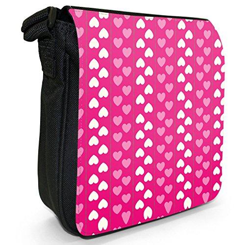 Hübsche Muster Liebesherzen Pink Kleine Schultertasche aus schwarzem Canvas Längsstreifen aus Liebesherzen