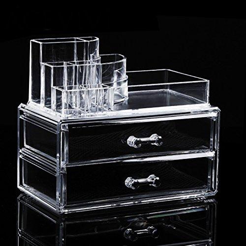 Teamyy Make Up Kosmetikschrank Organizer Kosmetik Schmuck Acryl 5 Schubladen Aufbewahrung Transparent Multifunktional 19 x 10 x 15,5 cm -
